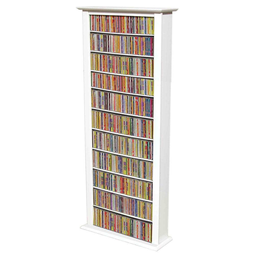Media Storage Tower Tall Single 28 X 9 1 2 X 76 White