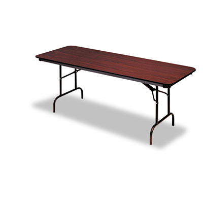 "Iceberg Premium Wood-Laminate Folding Table, 30"" x 96"", Mahogany. Picture 1"