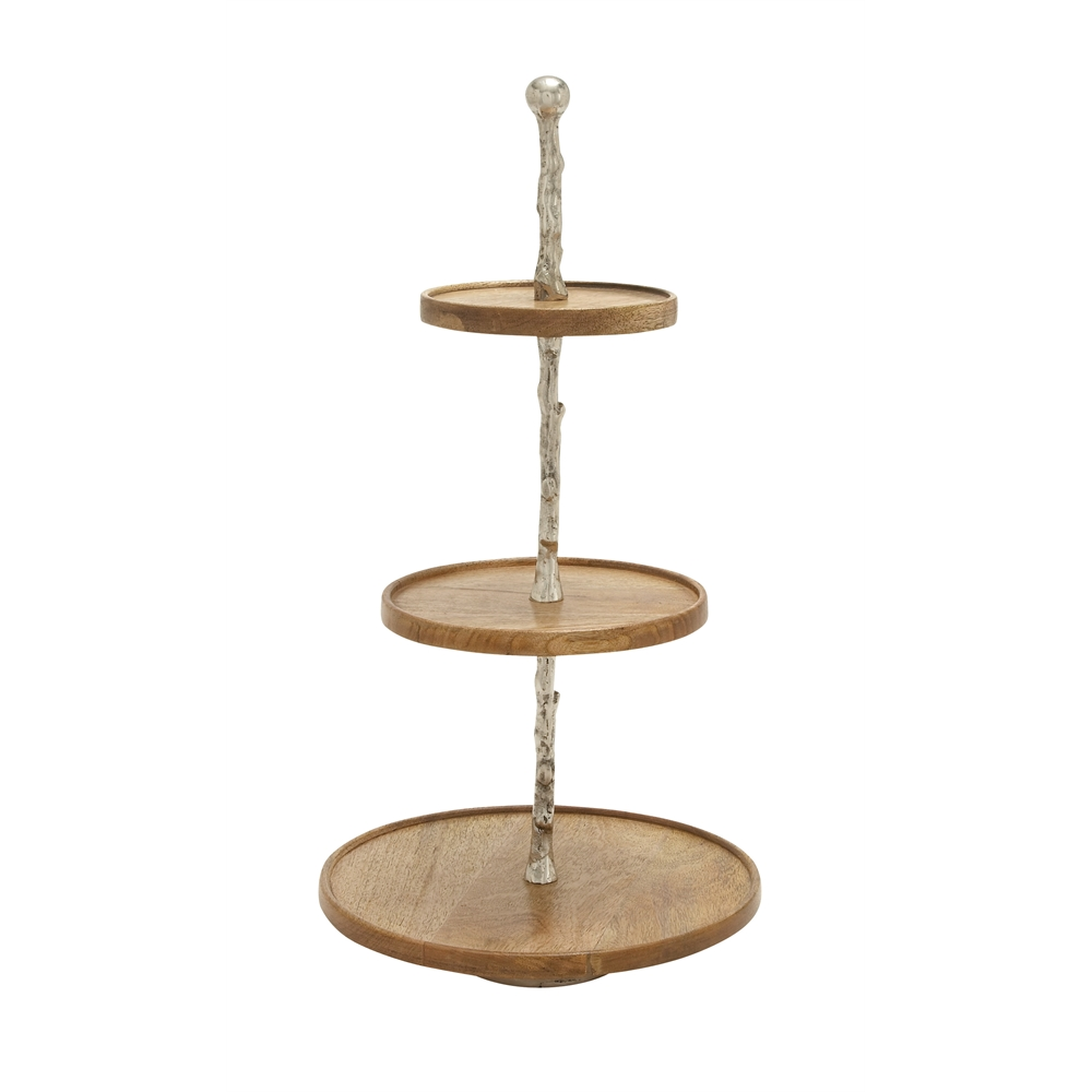Astounding Wood Metal 3 Tier Tray 14 Quot W 27 Quot H