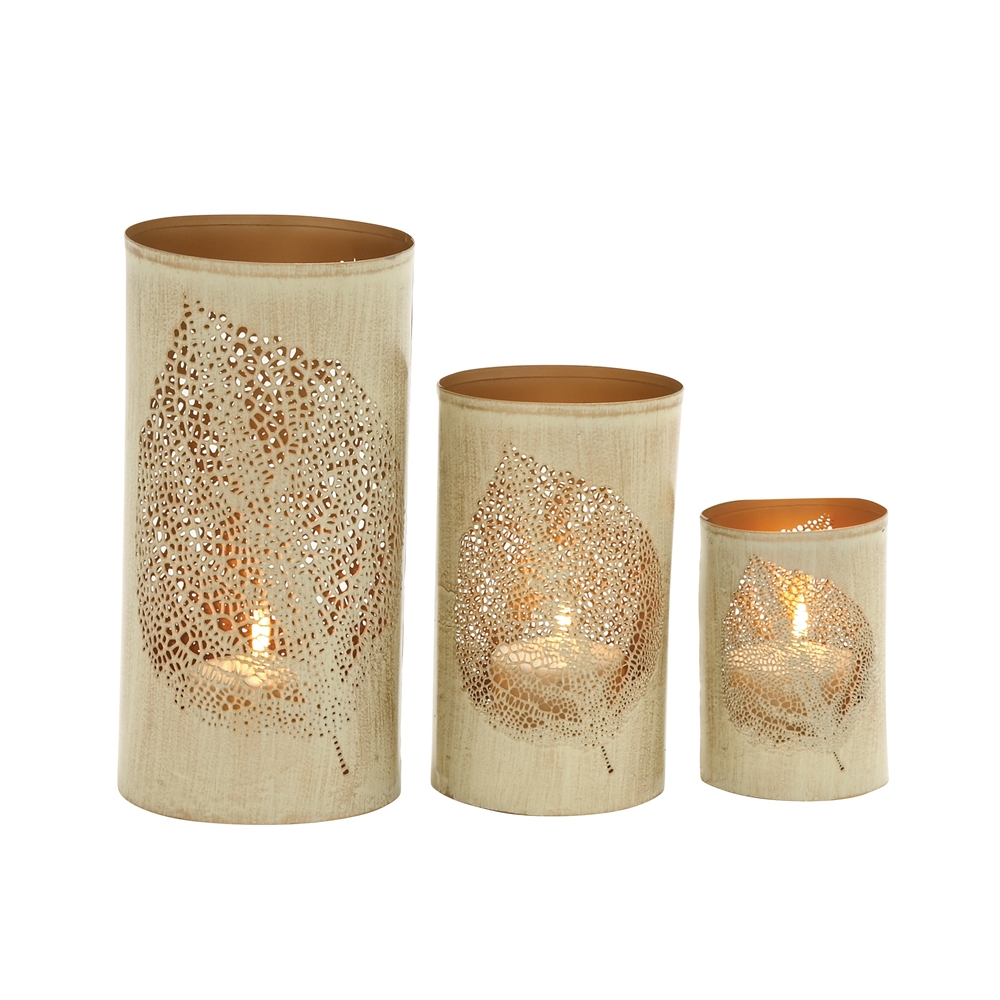 Leaf patterned set of three metal candle holder for Kitchen cabinets lowes with candle holder tree