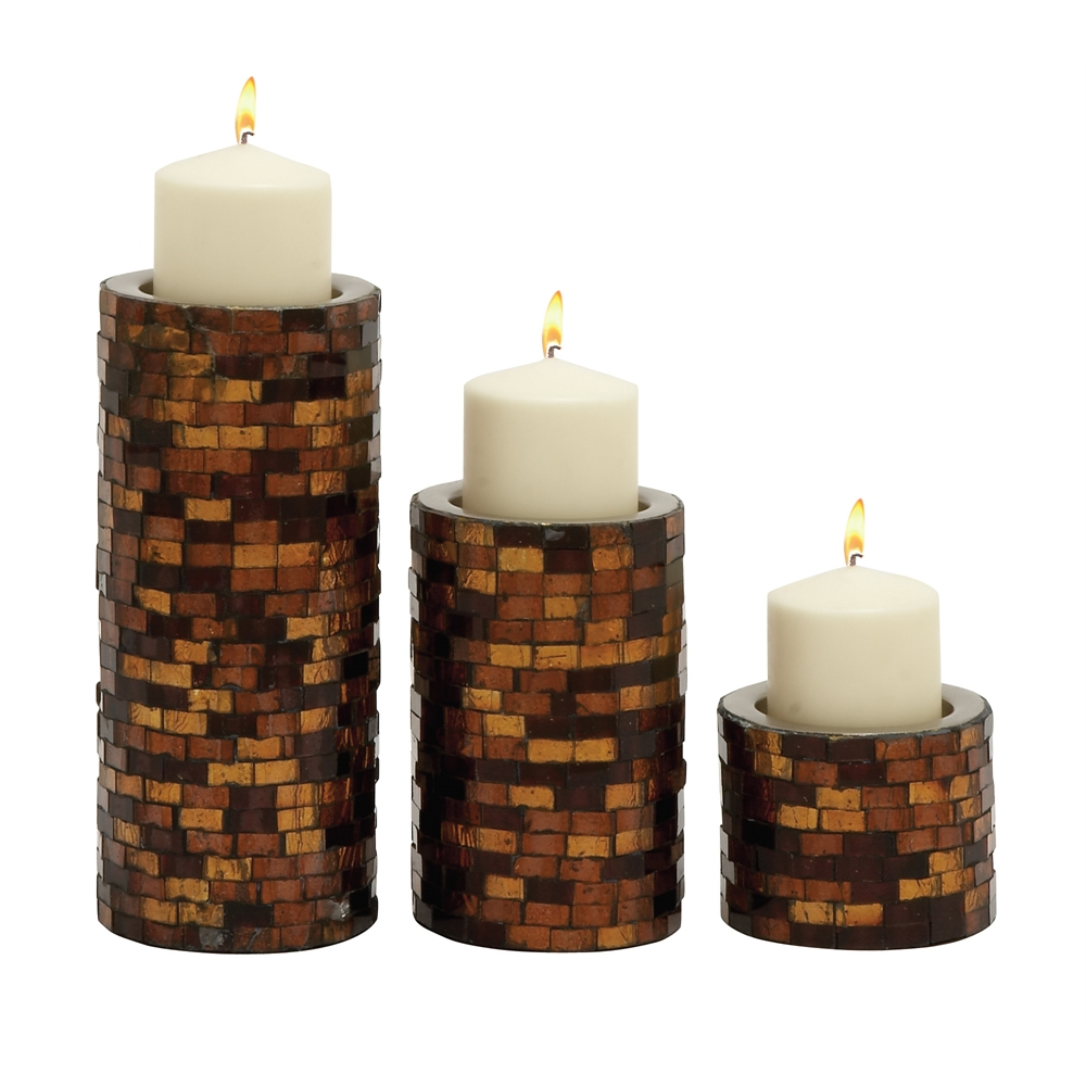 Benzara fabulous set of three metal mosaic candle holder for Kitchen cabinets lowes with tin can candle holders