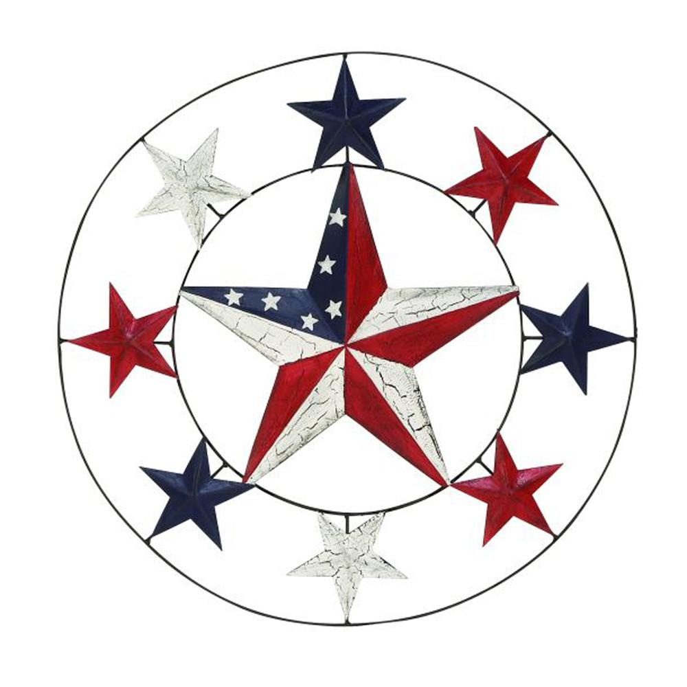 Blue Star Wall Decor : Designer metal star wall decor red blue and white
