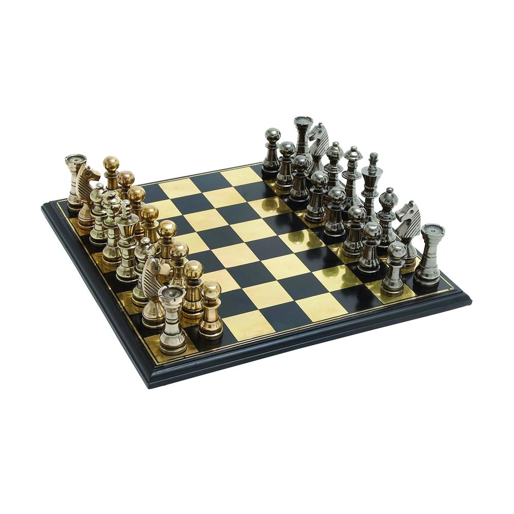 sleek and stylish chess set with polished aluminum pieces