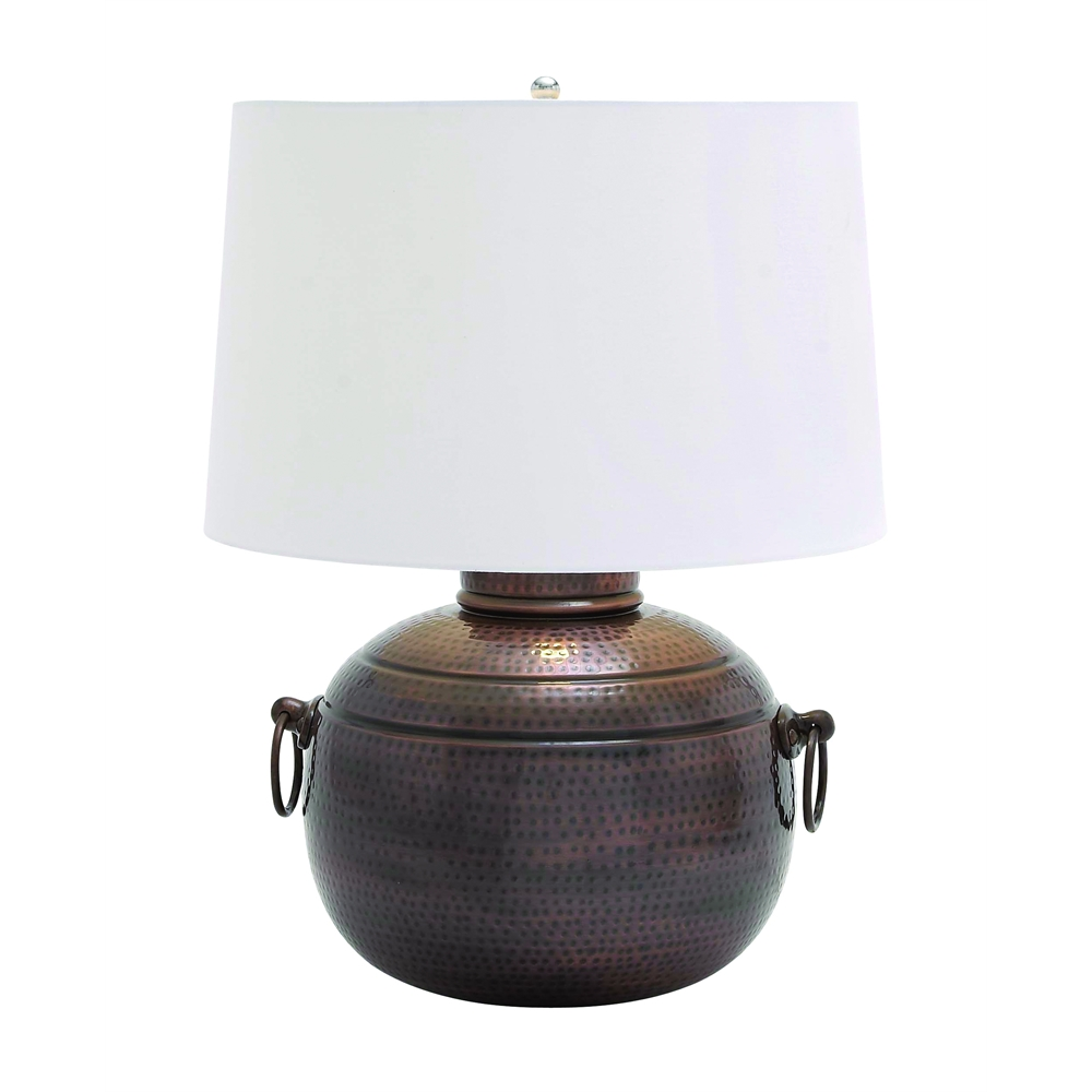 Benzara Hammered Design Metal Table Lamp With Two Ring