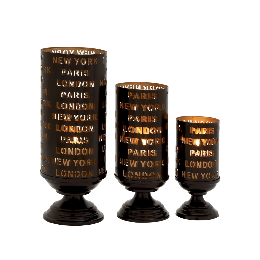 Striking set of three metal candle holders for Kitchen cabinets lowes with candle holder tree