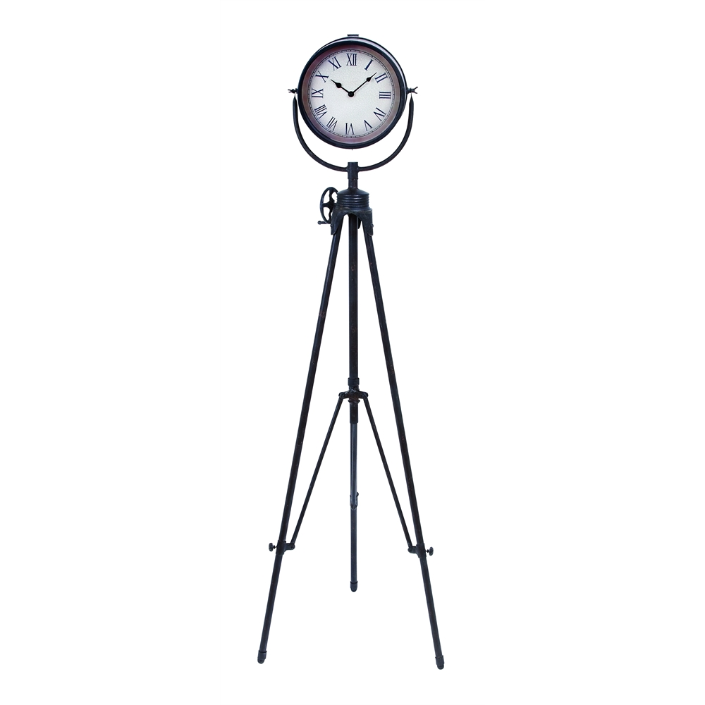 metal floor clock 17 inches wide black