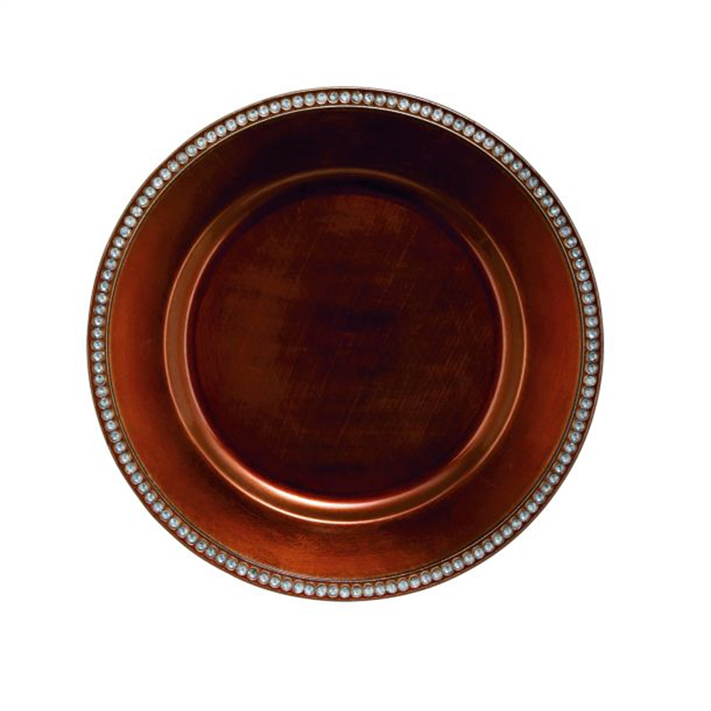 Chic pp plastic round copper charger for Copper to plastic