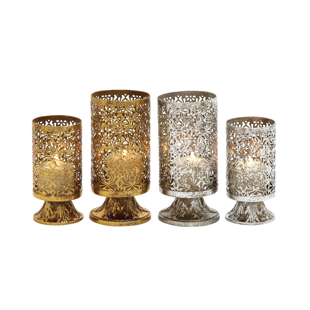 Classy set of two assorted metal candle holder for Kitchen cabinets lowes with tin can candle holders