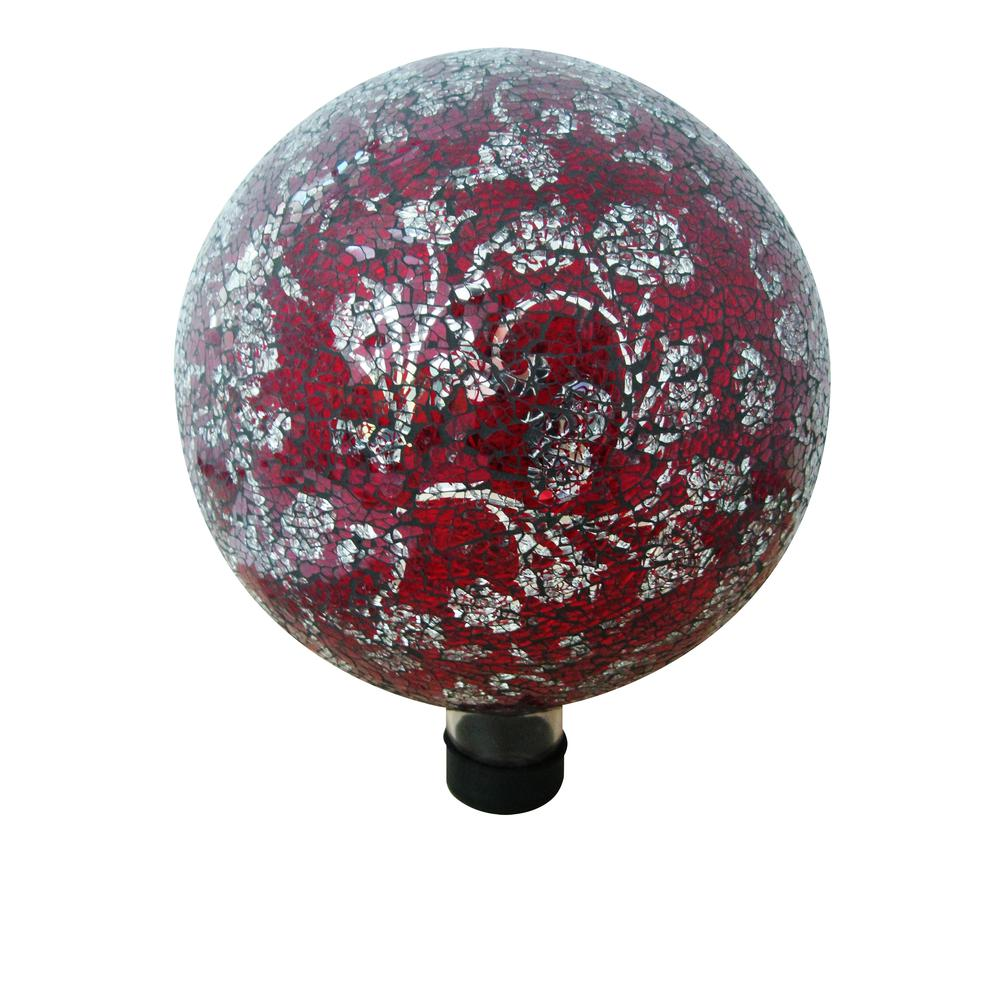 10 inch mosaic glass gazing globe with flower pattern red for 10 inch reflector floor lamp globe glass