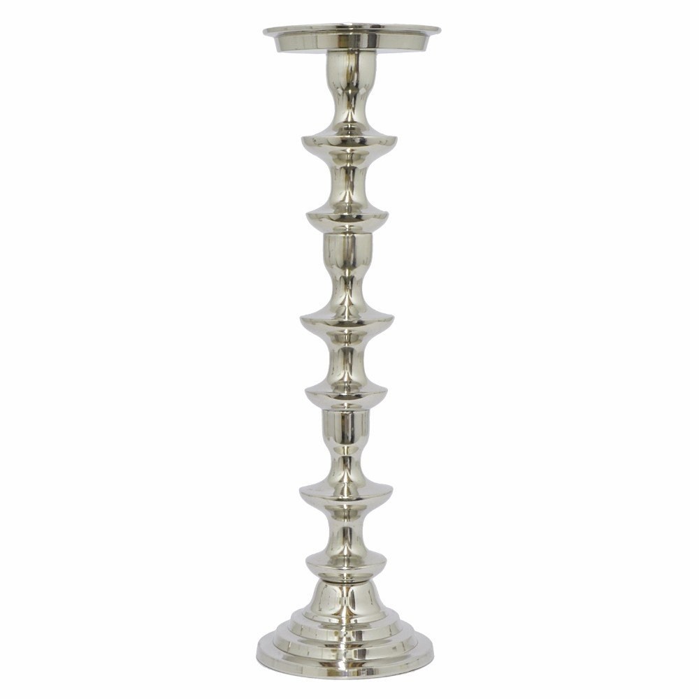 Impressive pillar candle holder medium silver benzara for Kitchen cabinets lowes with candle holder tree