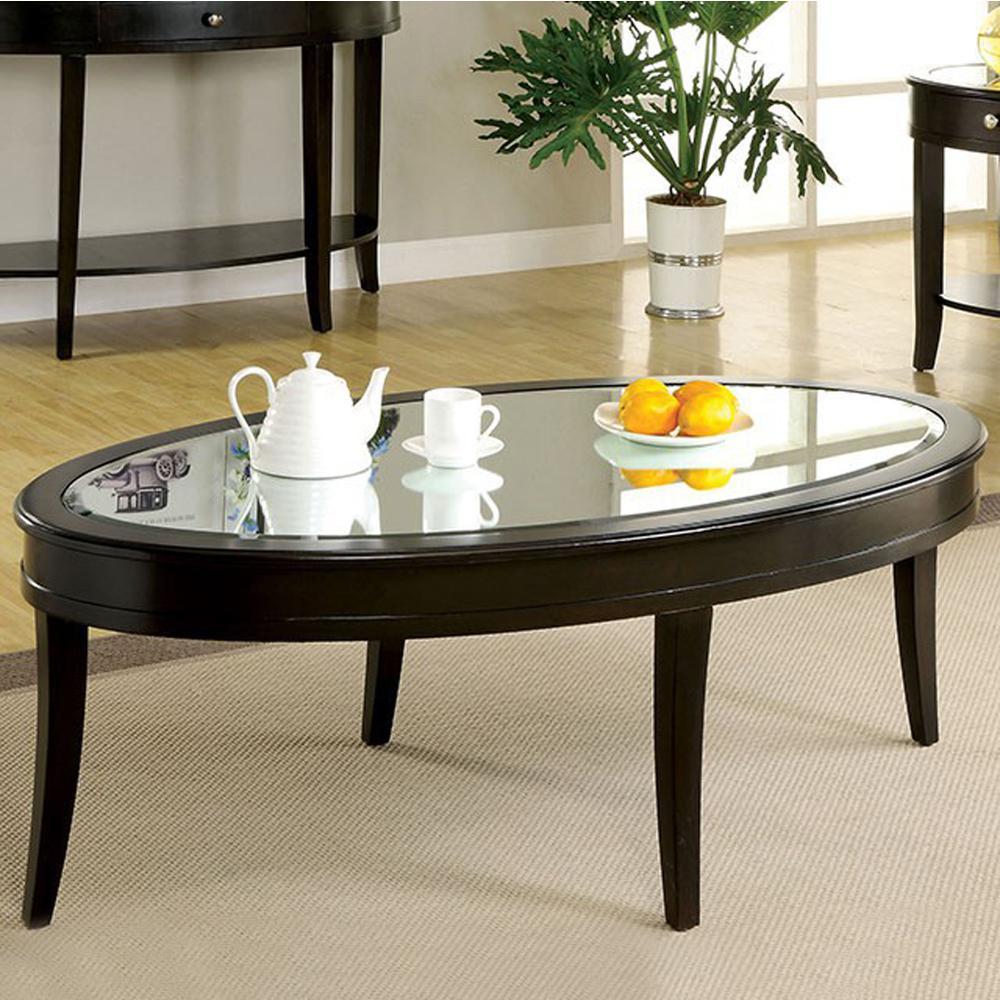 Silver Finish Coffee Table: Silver Mist Contemporary Coffee Table In Dark Walnut Finish
