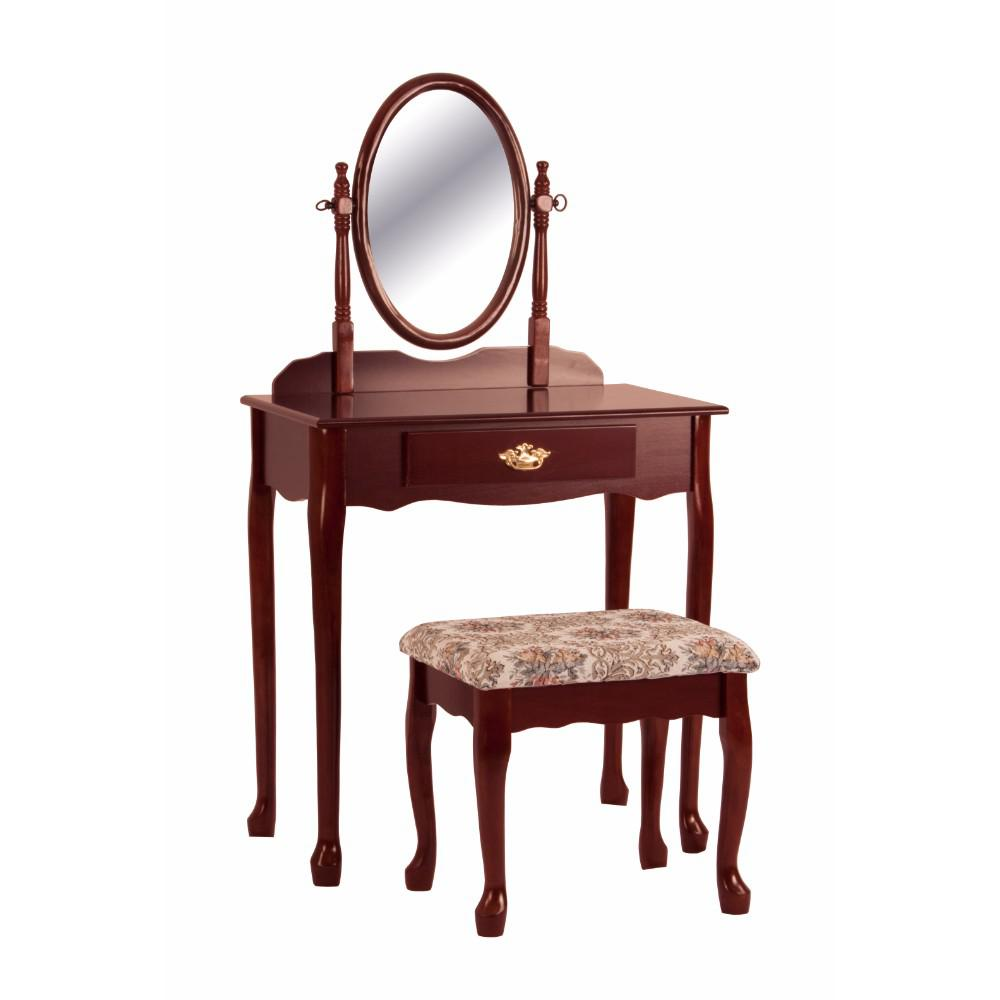 Vanity Table And Stool Set With Oval Mirror Cherry Brown