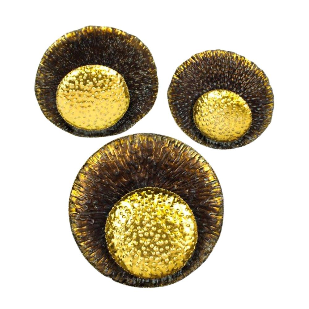 Eye Catching Metal Wall Decor, Set Of Three, Gold