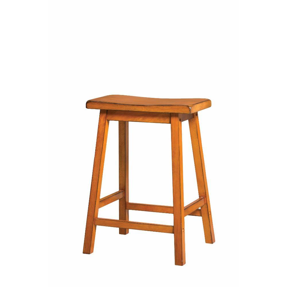 Wooden Counter Height Stool Set 2 Antique Oak