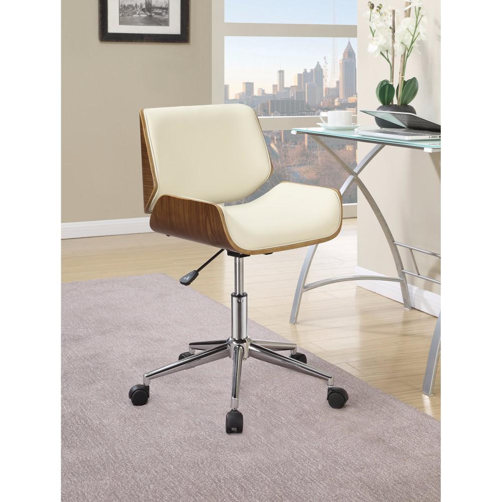 Back Home Office Chair Beige Walnut