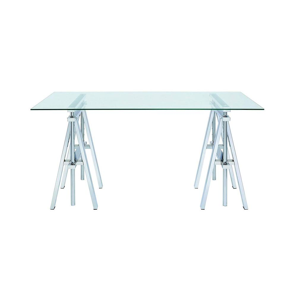 Adjustable Writing Desk With Sawhorse Legs, Clear And Silver