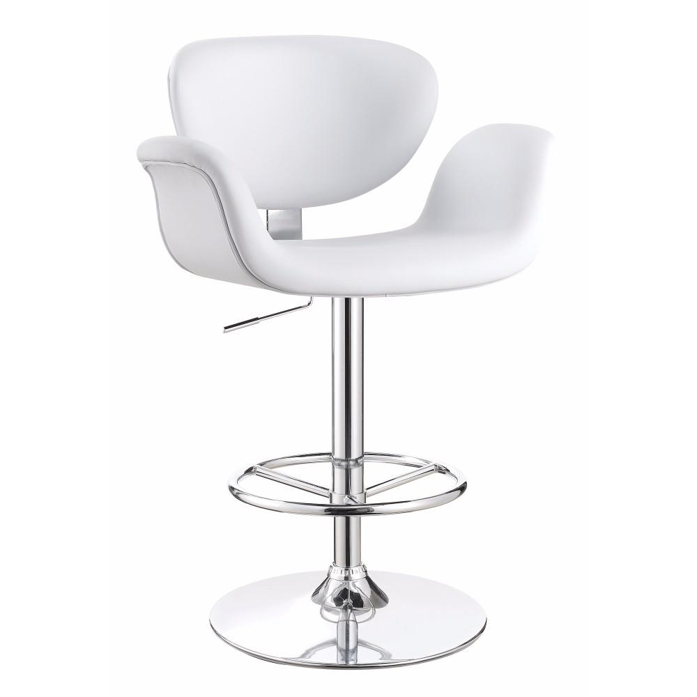 Contemporary Adjustable Swivel Metal Bar Stool White And