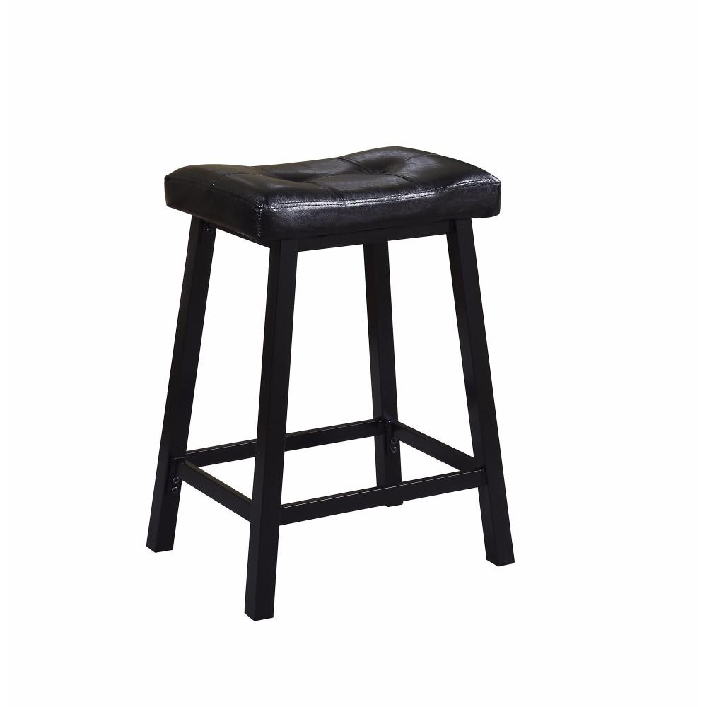 Upholstered Tufted Backless Counter Height Stool Black
