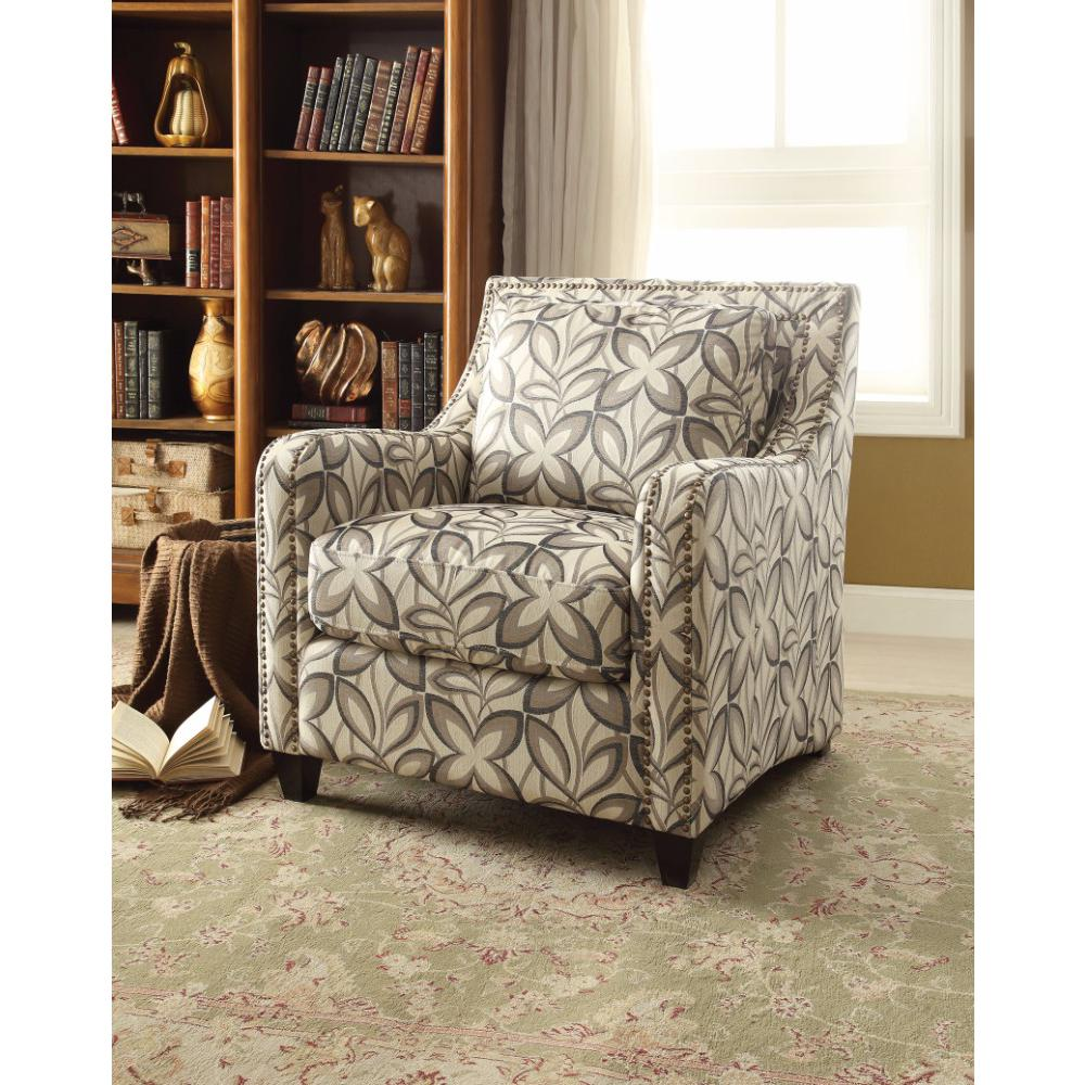 Floral Print Fabric Chair Multicolor
