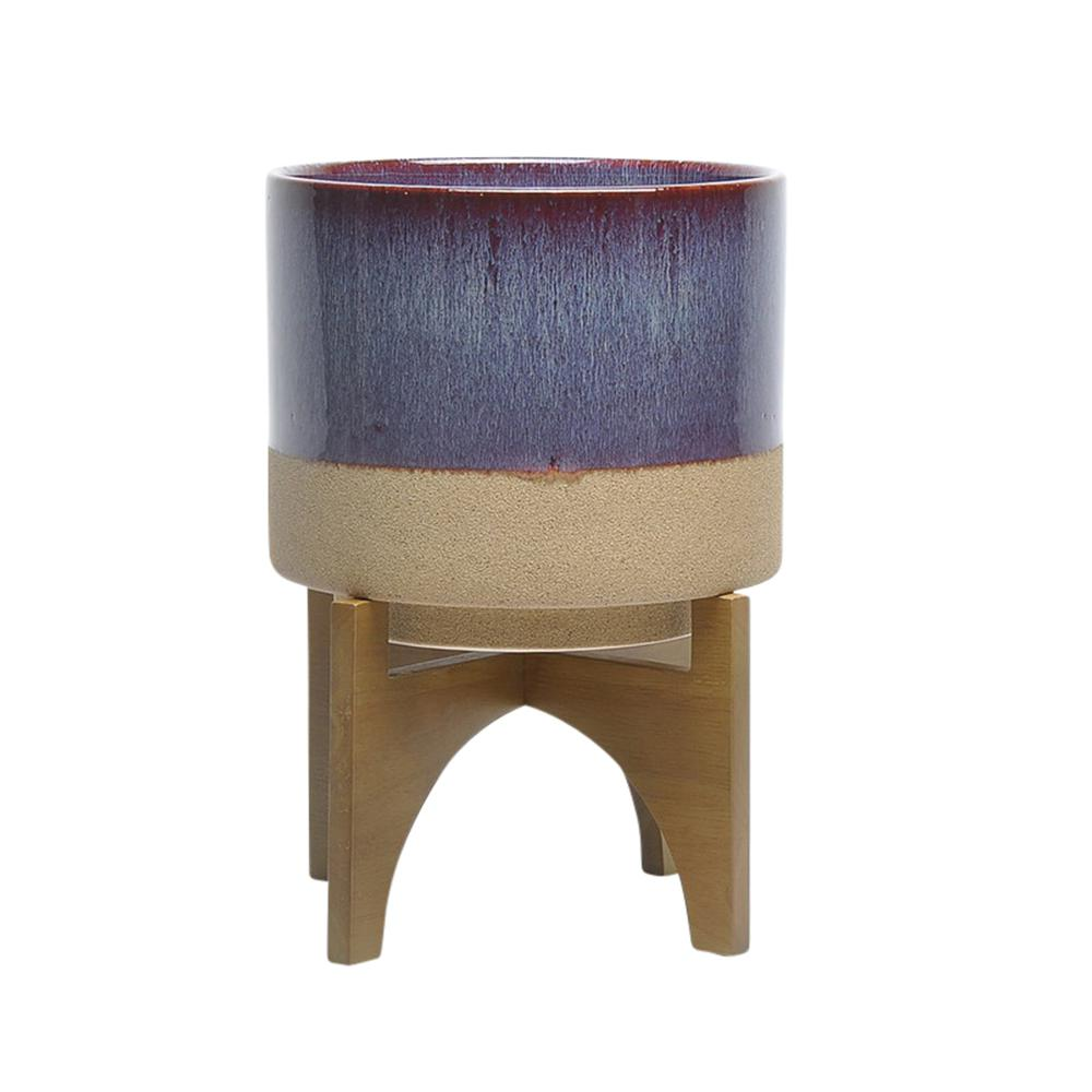 mid century modern ceramic planter with stand multicolor. Black Bedroom Furniture Sets. Home Design Ideas