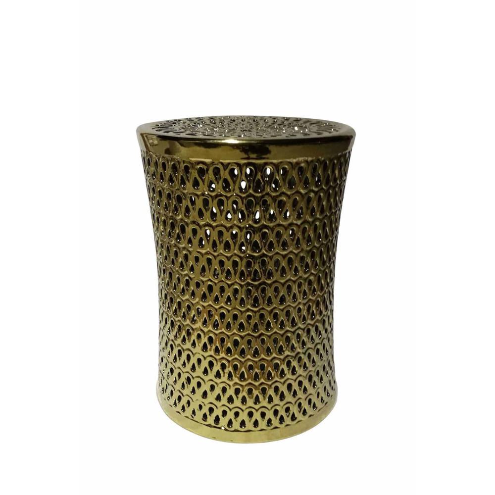 Captivating Ceramic Pierced Garden Stool, Gold