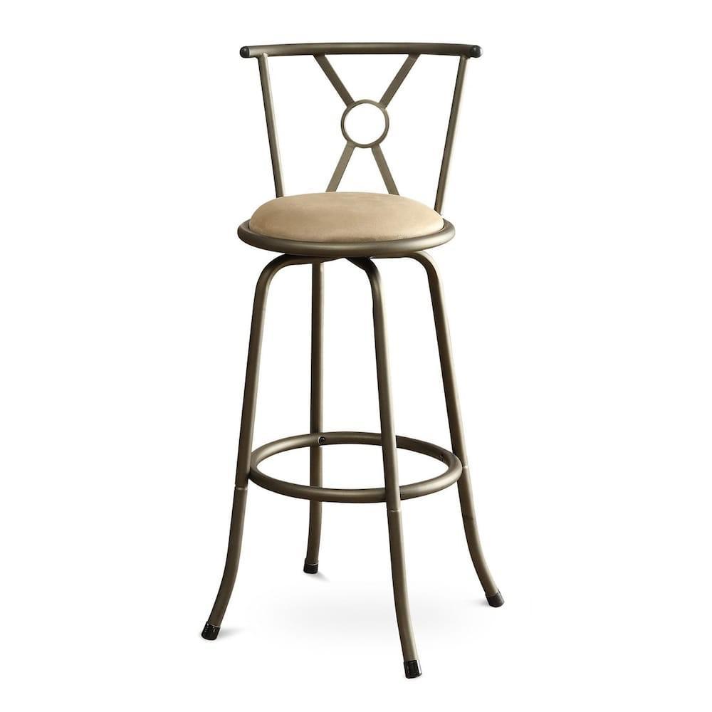 Strange Metal And Microfiber Swivel Barstool Champagne Set Of 2 Dailytribune Chair Design For Home Dailytribuneorg