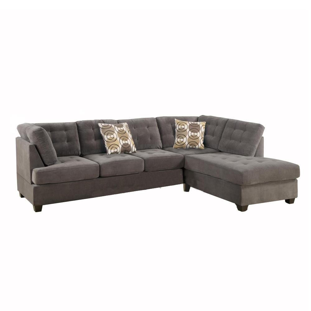 2 Piece Corduroy Sectional Sofa In Waffle Suede Charcoal