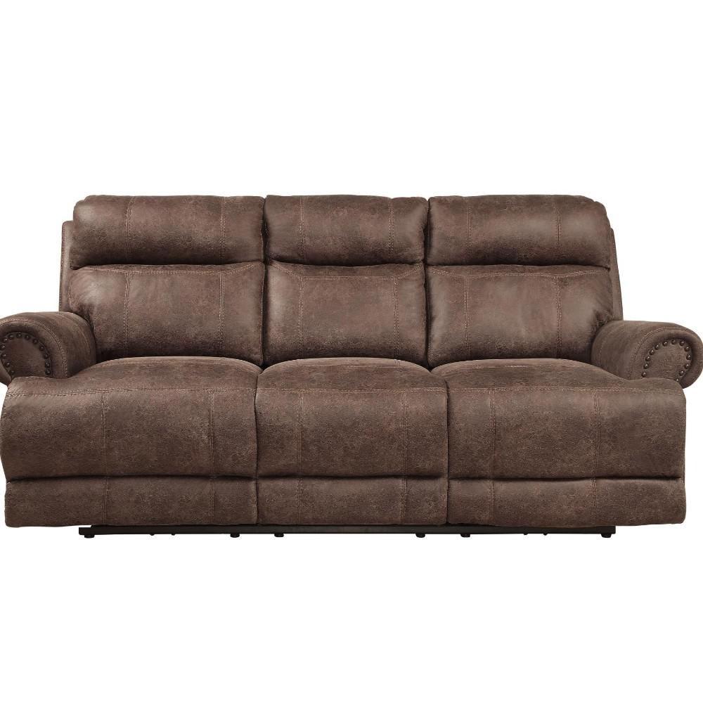 Polyester Power Double Recliner Sofa With Power Headrest