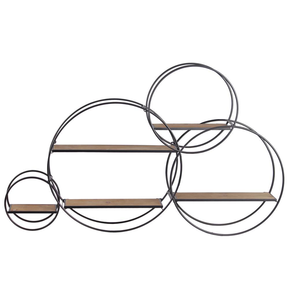 metal round wall shelf with 5 wooden shelves  set of 3  gunmetal gray