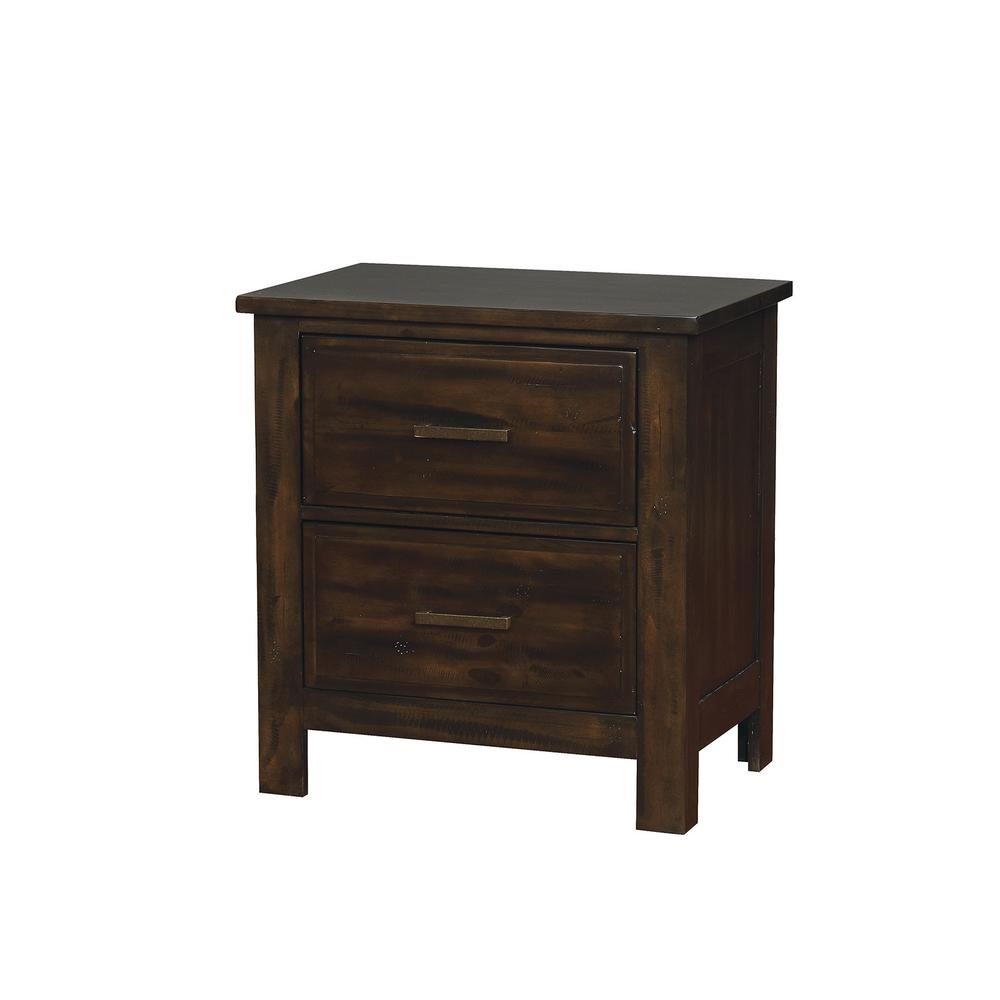 Transitional Solid Wood Night Stand With Two Drawers Dark