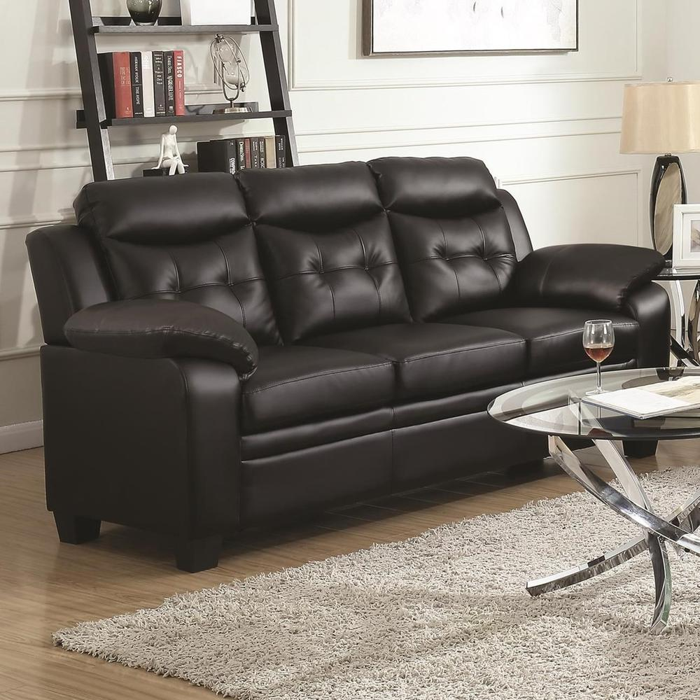 Contemporary Faux Leather Amp Wood Sofa With Padded Armrests