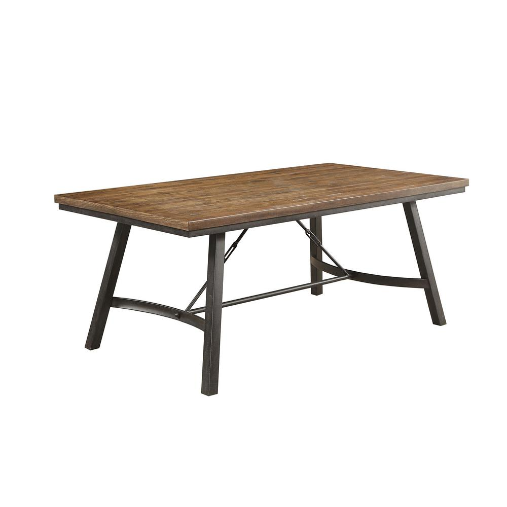 Metal Frame Dining Table With Rectangular Wooden Top Gray And