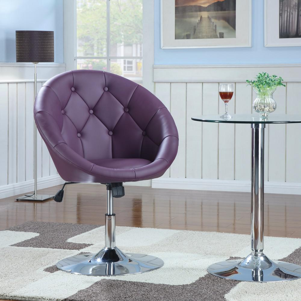 Comfy Round Tufted Purple Swivel Accent Chair