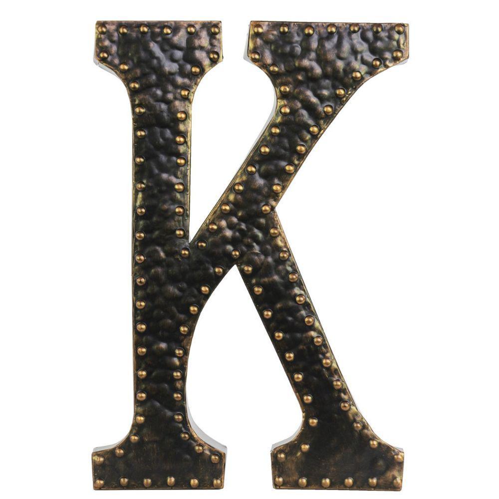 Metal wall decor letter k with rivets dark bronze for Letter k decoration