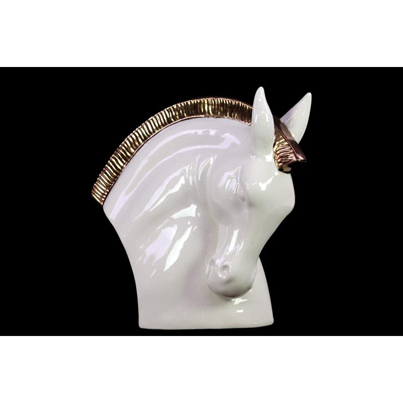 Bowing Stoneware Horse Head In White Large
