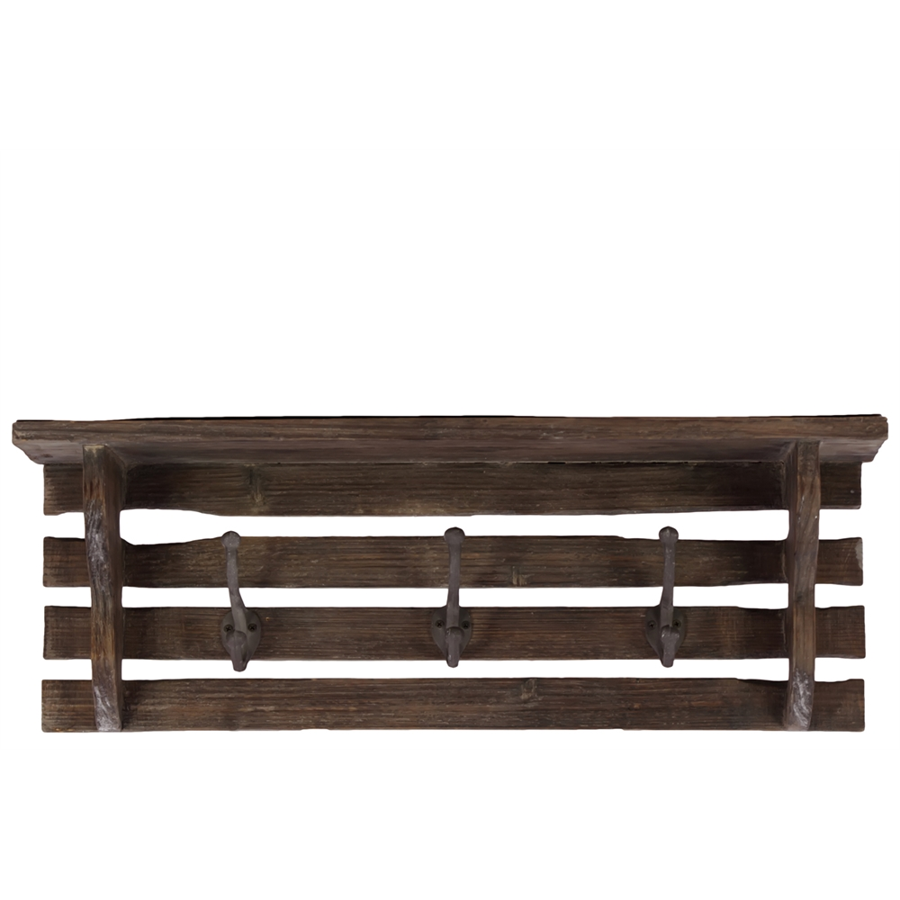 Wood Wall Shelf With Paneled Wood Strips Backing And 3 Hooks