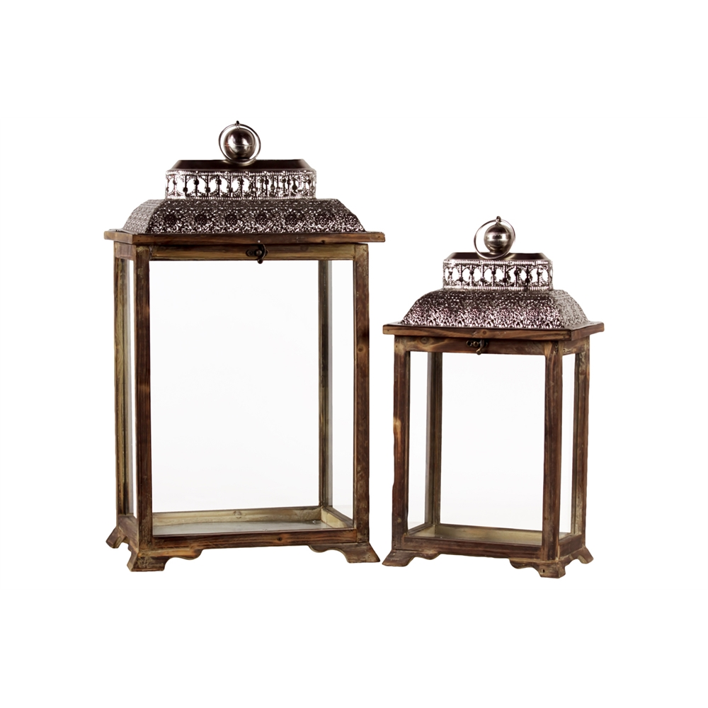 Wood lantern with ring holder and pierced metal top set of two for Zap wood floor cleaner