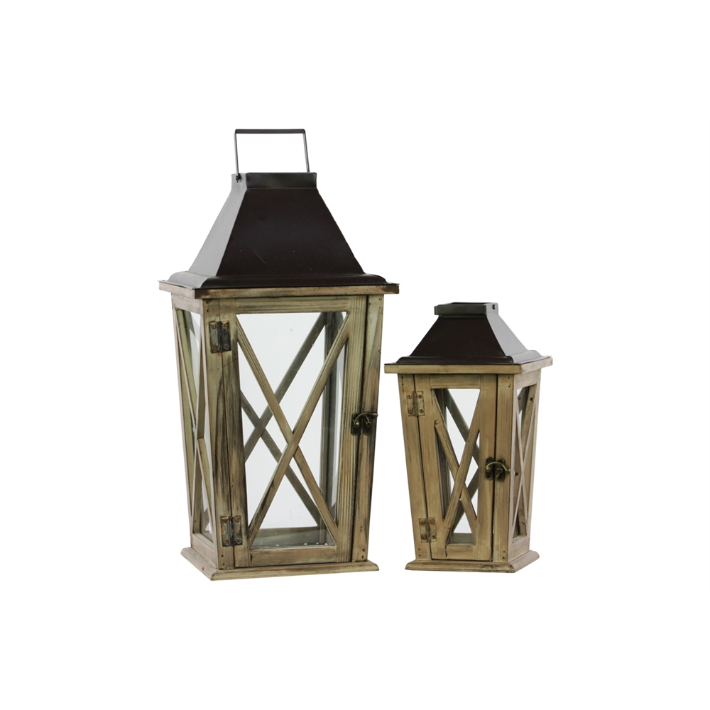 Wood Lantern With Cast Iron Top Metal Handle And Glass