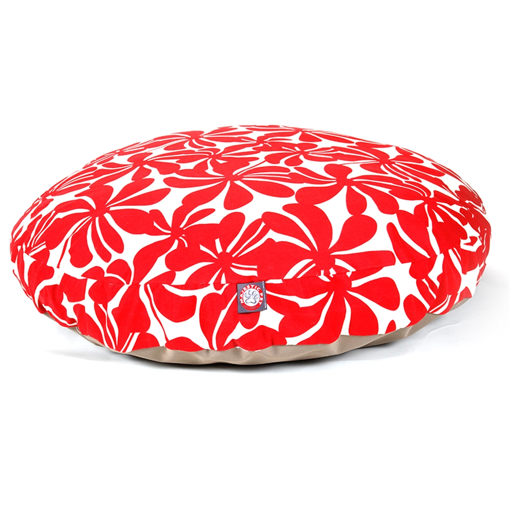 Red Plantation Large Round Pet Bed