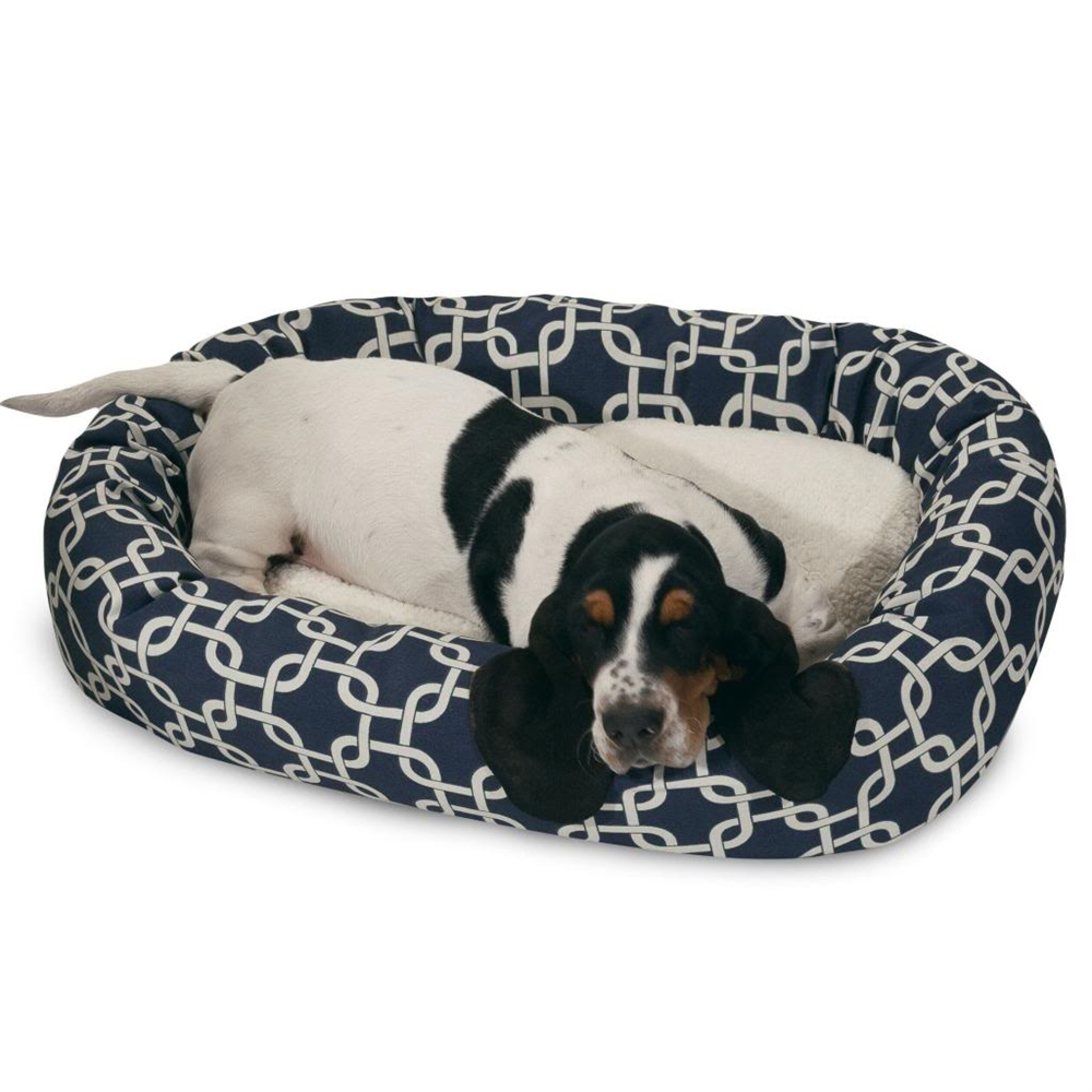 32 Quot Navy Blue Links Sherpa Bagel Bed