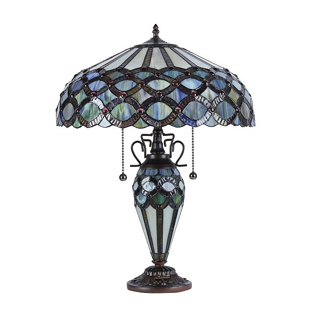"PRISMA Tiffany-style 2 Light Table Lamp 16"" Shade. Picture 1"