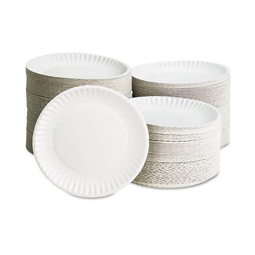 "White Paper Plates, 9"" Diameter, 100/Pack, 10 Packs/Carton. Picture 2"