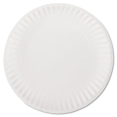 "White Paper Plates, 9"" Diameter, 100/Pack, 10 Packs/Carton. Picture 1"