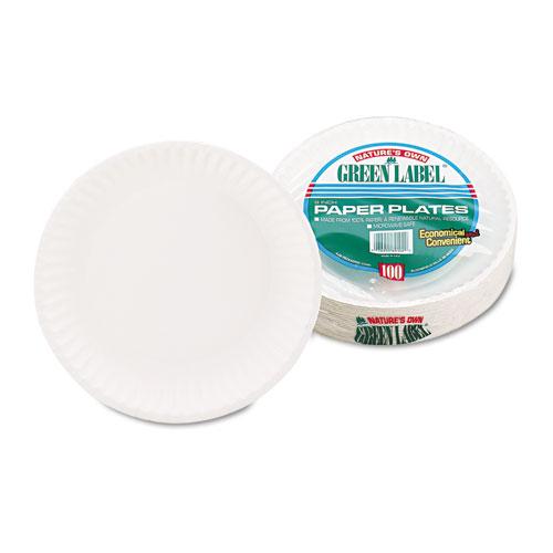 "White Paper Plates, 9"" Diameter, 100/Pack, 10 Packs/Carton. Picture 3"