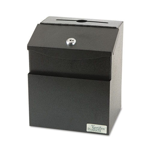 Steel Suggestion Box with Locking Top, 7 x 6 x 8 1/2, Black. Picture 1