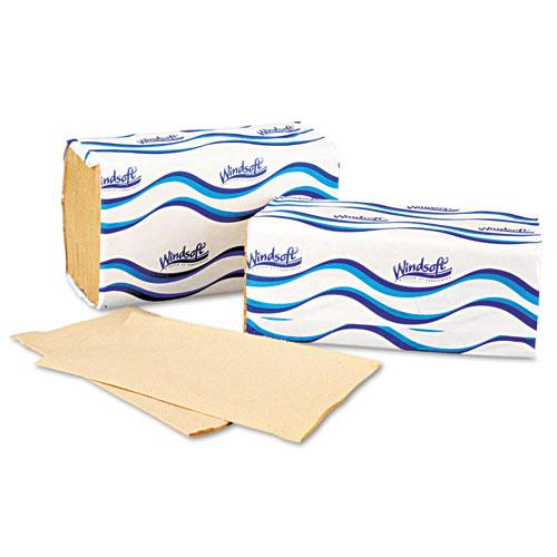 Embossed Singlefold Towels, 9 3/10 x 10 1/2, Natural, 250/Pack, 16 Packs/Carton. Picture 3