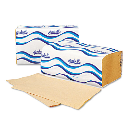 Embossed Singlefold Towels, 9 3/10 x 10 1/2, Natural, 250/Pack, 16 Packs/Carton. Picture 5