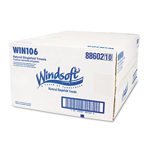 Embossed Singlefold Towels, 9 3/10 x 10 1/2, Natural, 250/Pack, 16 Packs/Carton. Picture 7
