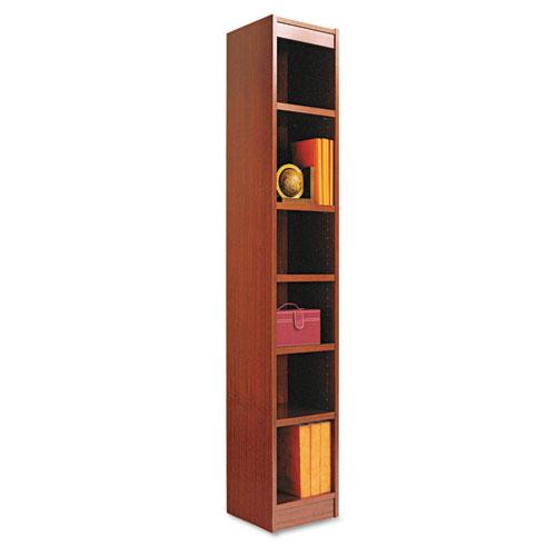 "Narrow Profile Bookcase, Wood Veneer, Six-Shelf, 11.81""w x 11.81""d x 71.73""h, Medium Cherry. Picture 1"