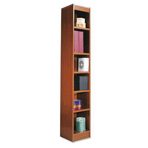 "Narrow Profile Bookcase, Wood Veneer, Six-Shelf, 11.81""w x 11.81""d x 71.73""h, Medium Cherry. Picture 2"